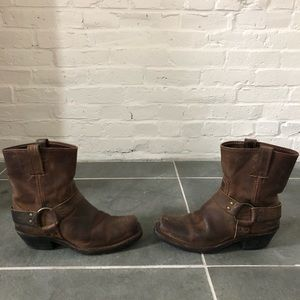 Frye Tan Leather Harness Boot Size 8